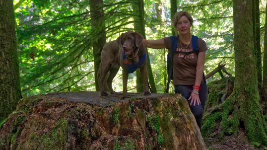 Rylee and Brenda next to a HUGE stump